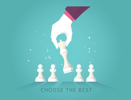 Business concept strategy. Leader hand choose the best strategic  way to move chess. Illustration
