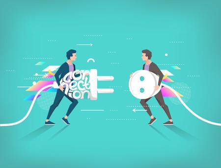 接続とパートナーシップのビジネス ・ コンセプトです。ソケットとプラグ。幾何学的な要素。