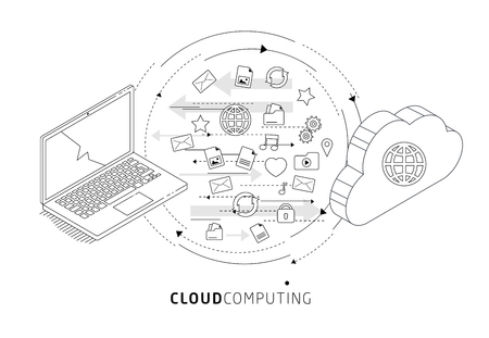 Isometric concept of cloud computing. Cloud network and services. Information exchange between cloud and laptop. Illustration