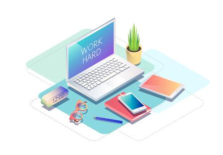 職場でコンピューター、オフィス機器等尺性の概念。