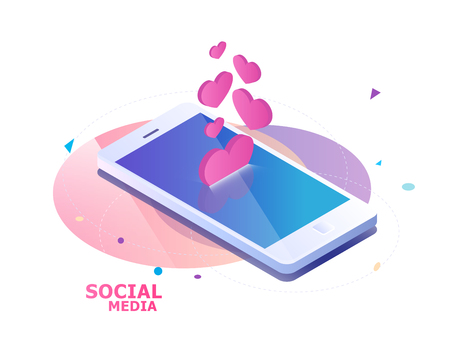 Isometric concept with mobile phone and falling hearts and likes. Push notification of appreciation Çizim