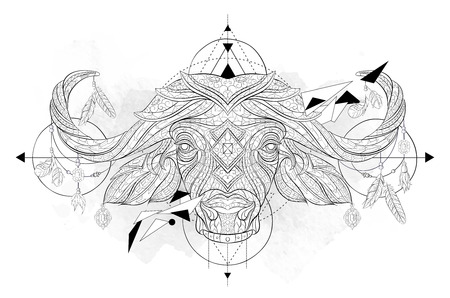 Patterned head of the bufallo with geometry on the grunge background. African, indian, totem, tattoo design. It may be used for design of a t-shirt, bag, postcard, a poster and so on.