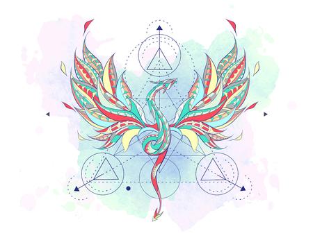 グランジ背景にジオメトリを持つパターンの飛竜。爬虫類のポスター。タトゥーのデザイン。T シャツ、バッグ、ポストカード、ポスターのデザイン
