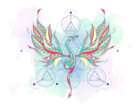 Patterned flying dragon with geometry on the grunge background. Poster with reptile. Tattoo design. It may be used for design of a t-shirt, bag, postcard, a poster and so on.