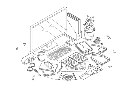 Isometric concept of workplace with computer and office equipment. Line art.