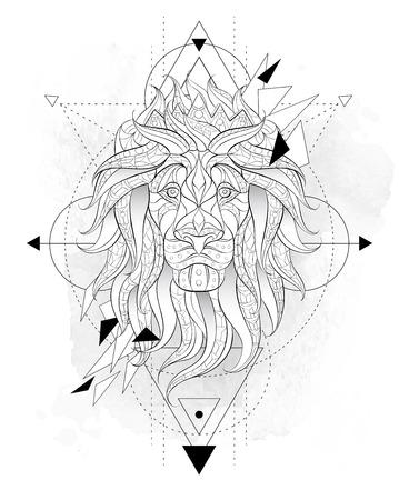 그런 지 배경에 기하와 사자의 무늬 머리. 왕관을 가진 레오. 아프리카, 인도, 토템, 문신 디자인. 그것은 티셔츠, 가방, 엽서, 포스터 등의 디자인에 사