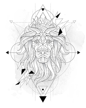 Patterned head of the lion with geometry on the grunge background. Leo with crown. African,  indian, totem, tattoo design. It may be used for design of a t-shirt, bag, postcard, a poster and so on. Vettoriali