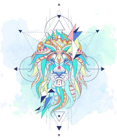グランジ背景上のジオメトリを持つライオンの柄の頭。クラウンとレオ。アフリカ、インド、トーテム、タトゥーのデザイン。T シャツ、バッグ、ポ