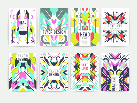 Set of geometric abstract colorful flyers.  Brochure templates. Design elements.  Modern backgrounds,  line art Illustration