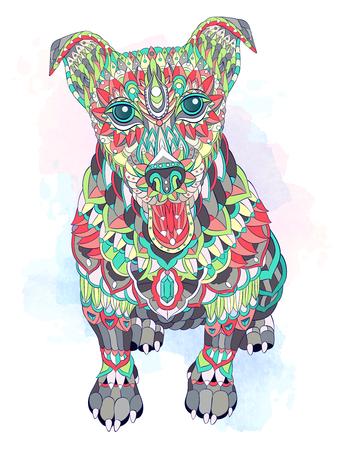 グランジの背景にパターン犬テリア。入れ墨のデザイン。● T シャツ、鞄、はがき、ポスターなどのデザインに使用できます。