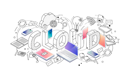 Isometric concept with thin line letters, typography word cloud with line and colorful icons on white background. For internet banner, websites, flyers. Vector illustration. Ilustração