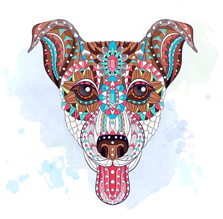 グランジの背景に犬テリアのパターンヘッド。入れ墨のデザイン。T シャツ、バッグ、はがき、ポスターなどのデザインに使用できます。