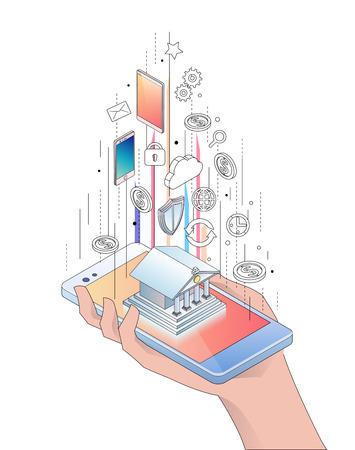 モバイルバンキングアプリケーション、オンラインサービスとスマートフォンの等角概念。手が電話を持ってるベクターイラスト。