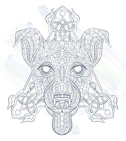 グランジ背景に犬テリアの柄の頭。タトゥーのデザイン。T シャツ、バッグ、ポストカード、ポスターのデザインなどなど使用する可能性があります