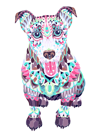 Patterned head of dog terrier on the grunge background. Tattoo design. It may be used for design of a t-shirt, bag, postcard, a poster and so on.