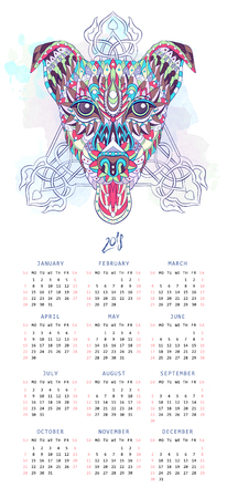 Calendar with patterned head of dog terrier on the grunge background. Tattoo design. It may be used for design of a t-shirt, bag, postcard, a poster and so on.