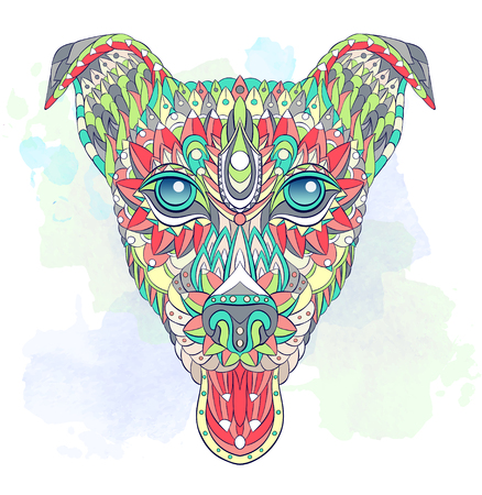 Patterned head of dog terrier on the grunge background. Tattoo design. It may be used for design of a t-shirt, bag, postcard, a poster and more.