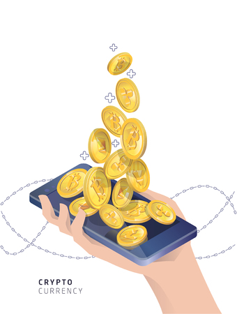 Buying and receiving cryptocurrency. Hand with martphone. Vector isometric illustration.