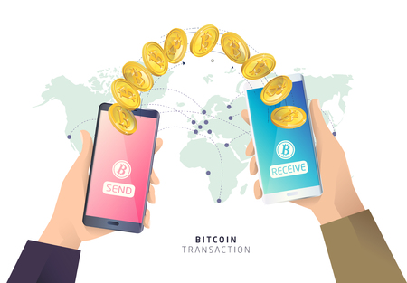 Bitcoin transaction. Hands with smartphones. Cryptocurrency. Vector isometric illustration.
