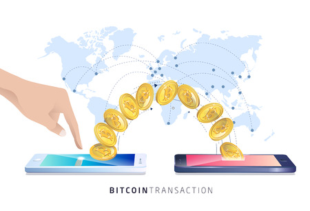 Bitcoin transaction. Hand with smartphones. Cryptocurrency. Vector isometric illustration. Banco de Imagens - 98674920
