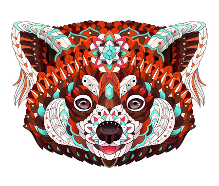Patterned red panda for Tattoo design.
