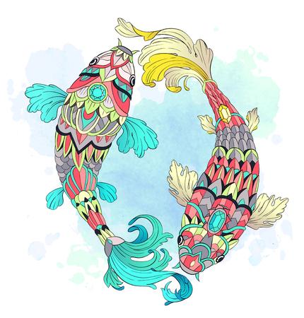 水彩画の背景にパターン化された鯉。