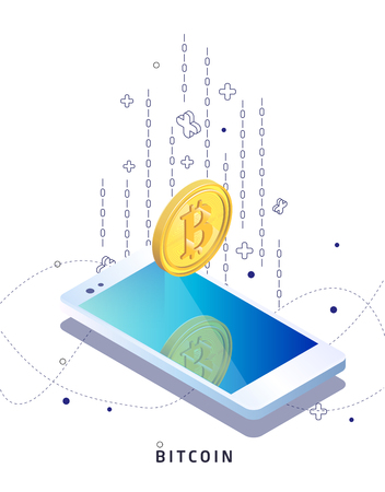 Buying and receiving cryptocurrency. Smartphone. Vector isometric illustration. Illustration