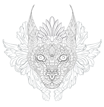 Patterned caracal lynx on the floral background for Tattoo design.