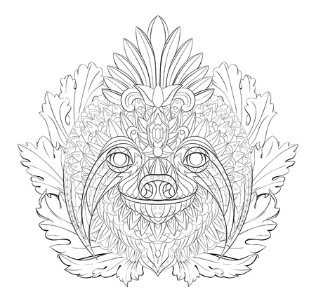 Patterned head of the sloth on the floral  background. African, indian, totem, tattoo design. It may be used for design of a t-shirt, bag, postcard, a poster and so on.