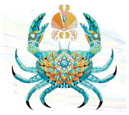 Patterned crab on the watercolor background. Tattoo design. It may be used for design of a t-shirt, bag, postcard, a poster and so on.