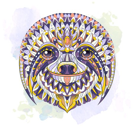 Patterned head of the sloth on the watercolor background. African, indian, totem, tattoo design. It may be used for design of a t-shirt, bag, postcard, a poster and so on.   Иллюстрация