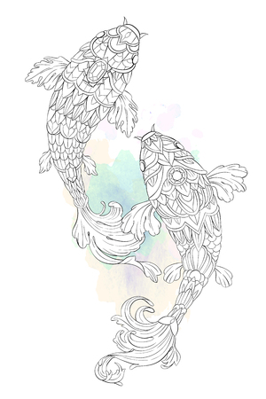Patterned carp on watercolor and floral background. African, indian, totem, tattoo design. It may be used for design of a t-shirt, bag, postcard, a poster and so on.