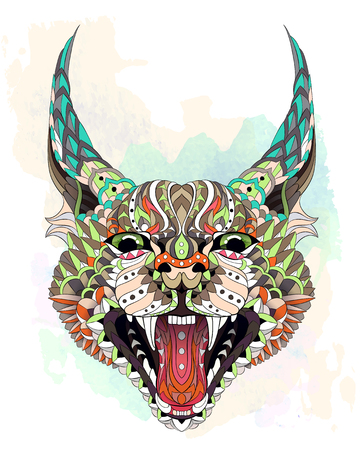 Patterned caracal lynx on the watercolor background. Growling cat. Tattoo design. It may be used for design of a t-shirt, bag, postcard, a poster and so on. Standard-Bild - 98674338