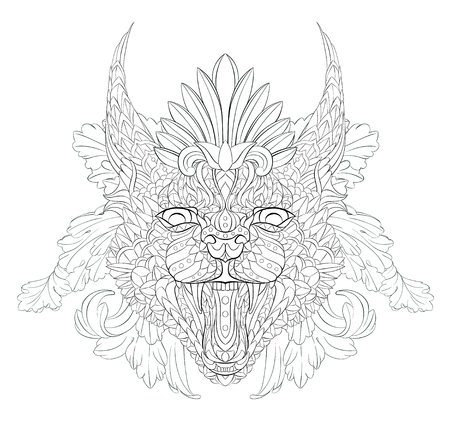 Patterned caracal lynx on the floral background. Growling cat. Tattoo design. It may be used for design of a t-shirt, bag, postcard, a poster and so on.