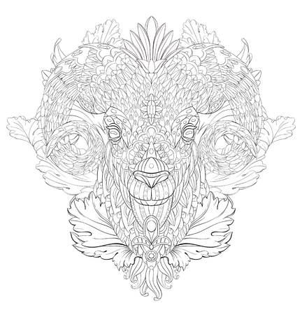 Patterned goat on the floral background. Ram. Sheep. Tattoo design. It may be used for design of a t-shirt, bag, postcard, a poster and so on.