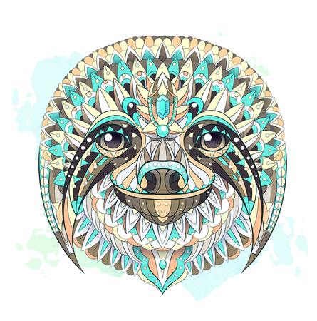 Patterned head of the sloth on the watercolor background. African, indian, totem, tattoo design. It may be used for design of a t-shirt, bag, postcard, a poster and so on.    イラスト・ベクター素材