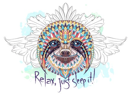 Patterned head of the sloth on the floral and watercolor background with lettering. African, indian, totem, tattoo design. It may be used for design of a t-shirt, bag, postcard, a poster and so on.