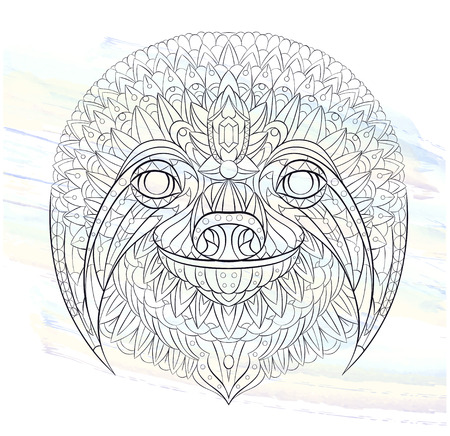 Patterned head of the sloth on the watercolor background. African, indian, totem, tattoo design. It may be used for design of a t-shirt, bag, postcard, a poster and so on.   Ilustrace