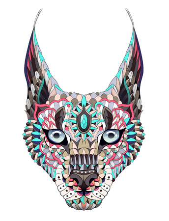 Patterned caracal lynx. Tattoo design. It may be used for design of a t-shirt, bag, postcard, a poster and so on.