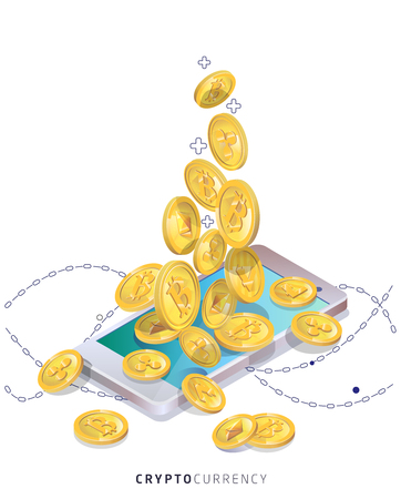 Buying and receiving cryptocurrency using smartphone vector isometric illustration.