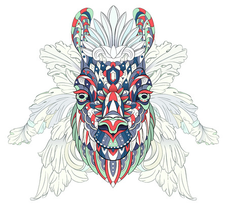 Patterned head of the llama. African, indian, totem, tattoo design. It may be used for design of a t-shirt, bag, postcard, a poster and so on.   Illustration