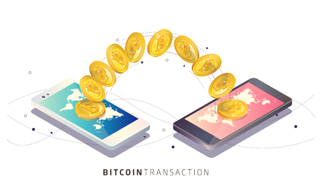 Bitcoin transaction using smartphones vector isometric illustration.