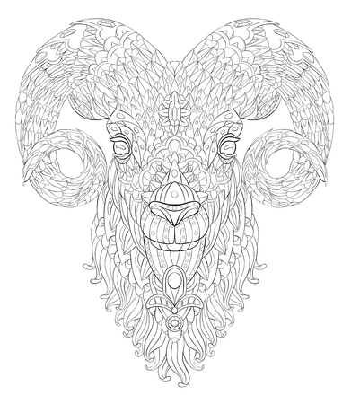 Patterned goat. Ram. Sheep. Tattoo design. It may be used for design of a t-shirt, bag, postcard, a poster and so on.