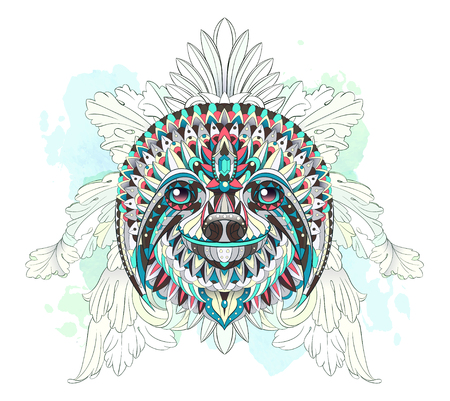 Patterned head of the sloth on the floral and watercolor background. African, indian, totem, tattoo design. It may be used for design of a t-shirt, bag, postcard, a poster and so on.   Çizim