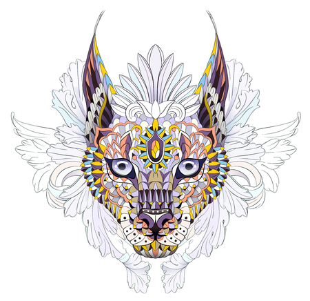 Patterned caracal lynx on the floral background. Tattoo design. It may be used for design of a t-shirt, bag, postcard, a poster and so on.