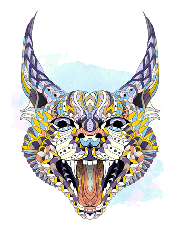 Patterned caracal lynx on the watercolor background. Growling cat. Tattoo design. It may be used for design of a t-shirt, bag, postcard, a poster and so on.