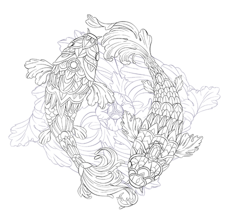 Patterned carps on floral background. African, indian, totem, tattoo design. It may be used for design of a t-shirt, bag, postcard, a poster and so on.