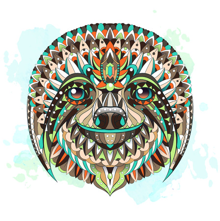 Patterned head of the sloth on the watercolor background. African, indian, totem, tattoo design. It may be used for design of a t-shirt, bag, postcard, a poster and so on.   Illustration
