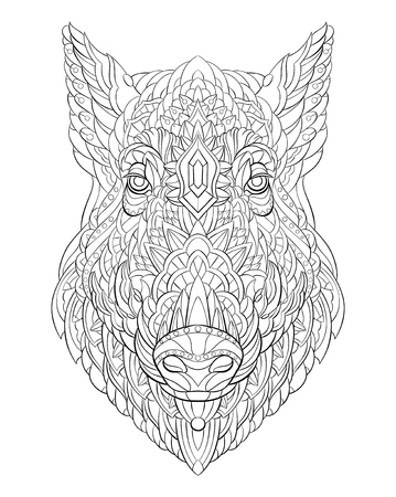 Patterned head of boar. Pig. Swine. Tattoo design. It may be used for design of a t-shirt, bag, postcard, a poster and so on.