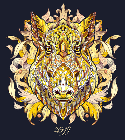 Patterned head of boar. Pig. Swine. Symbol of 2019. Tattoo design. It may be used for design of a t-shirt, bag, postcard, a poster and so on. Illustration